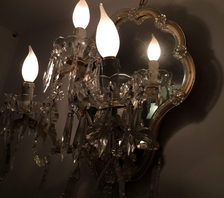 Pair of Italian Crystal Sconces Mirrored Maria Therese Wall Lights ...