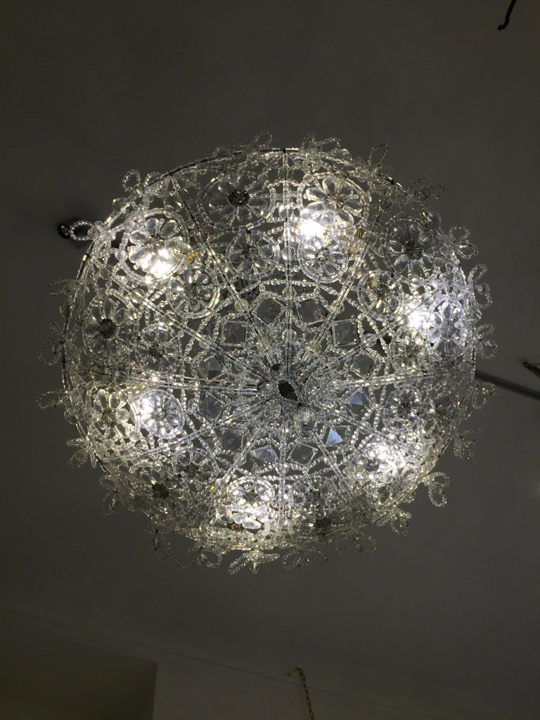 20th Century Italian Beaded Crystal Flush Mount Umbrella Chandelier  For Sale 7