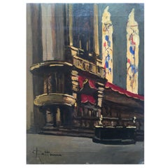Italian Church Interior Painting by Achille Cattaneo Early 20th Century