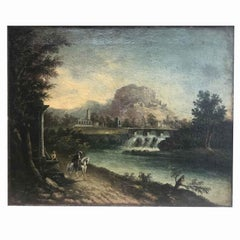 Early 19th Century Italian Landscape River View with Ruins and Figures Framed