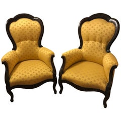 Pair of Italian Walnut Armchairs Gold Upholstery 19th Century Louis Philippe