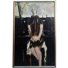 Large Italian 20th Century Female Portrait Painting by Renato Borsato, 1960