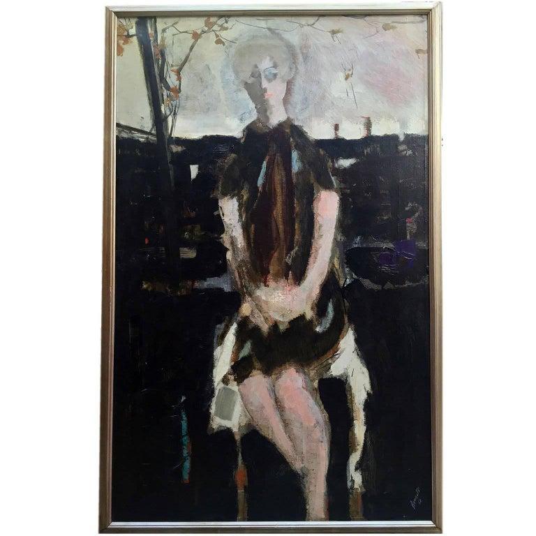 Large Italian 20th Century Female Portrait Painting by Renato Borsato, 1960 For Sale