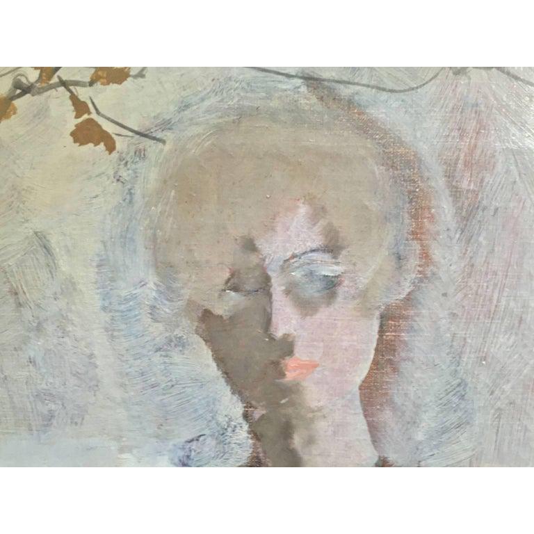 Industrial Large Italian 20th Century Female Portrait Painting by Renato Borsato, 1960 For Sale
