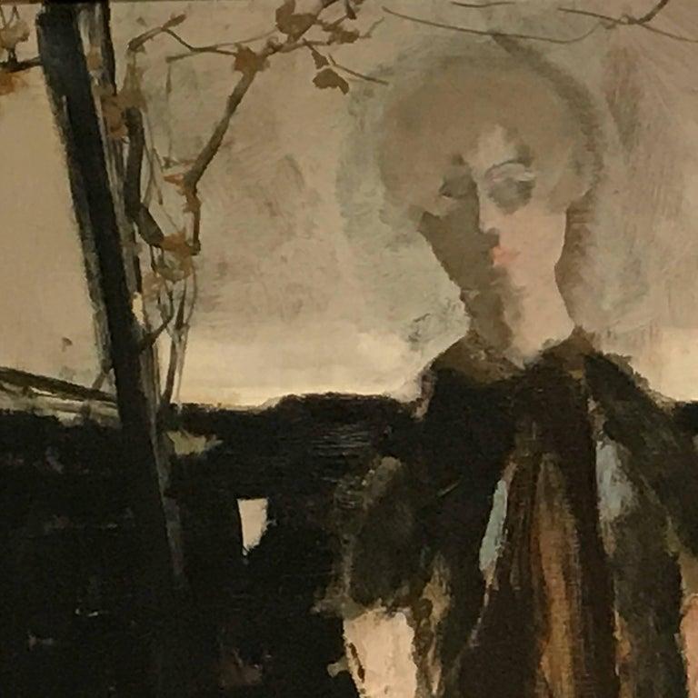 Large Italian 20th Century Female Portrait Painting by Renato Borsato, 1960 For Sale 4