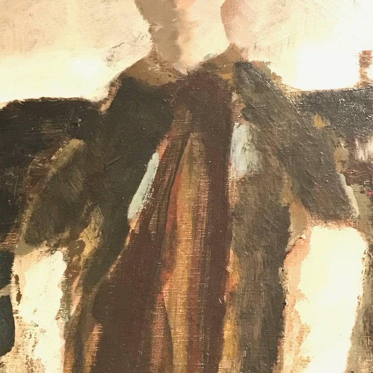Large Italian 20th Century Female Portrait Painting by Renato Borsato, 1960 For Sale 3