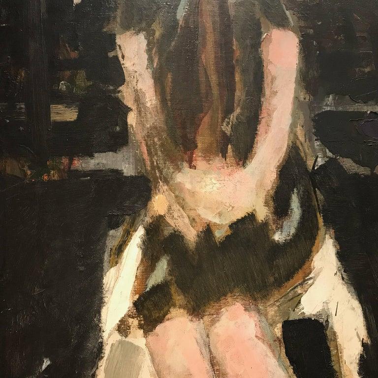 Canvas Large Italian 20th Century Female Portrait Painting by Renato Borsato, 1960 For Sale