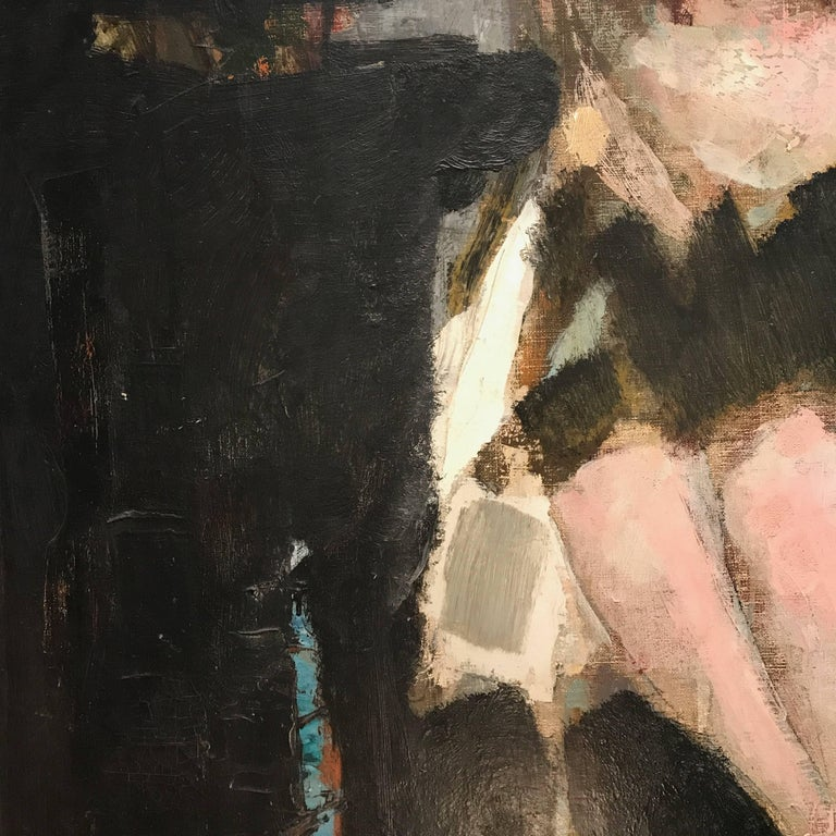 Large Italian 20th Century Female Portrait Painting by Renato Borsato, 1960 For Sale 5