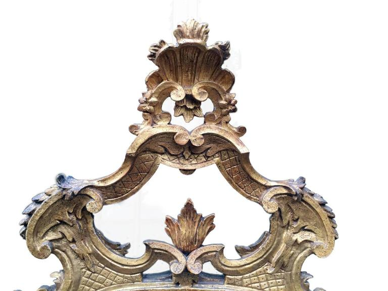 Italian 18th Century Louis XV Mirror Carved Gilt Wood Tuscan Mirror from Lucca For Sale 7