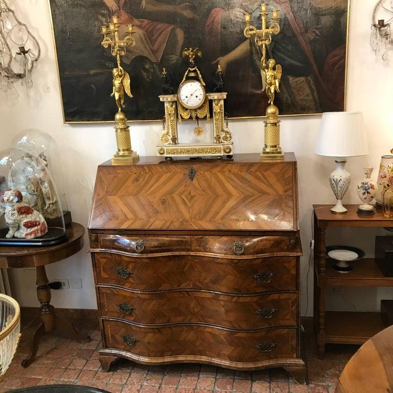 Louis XV Italian Drop Front Bureau from Genoa circa 1770 Walnut Veneered Inlaid  12