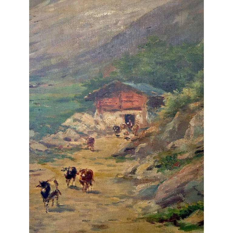 Hand-Painted Large Italian Landscape Early 20th Century Mountain Painting by Silvio Poma  For Sale