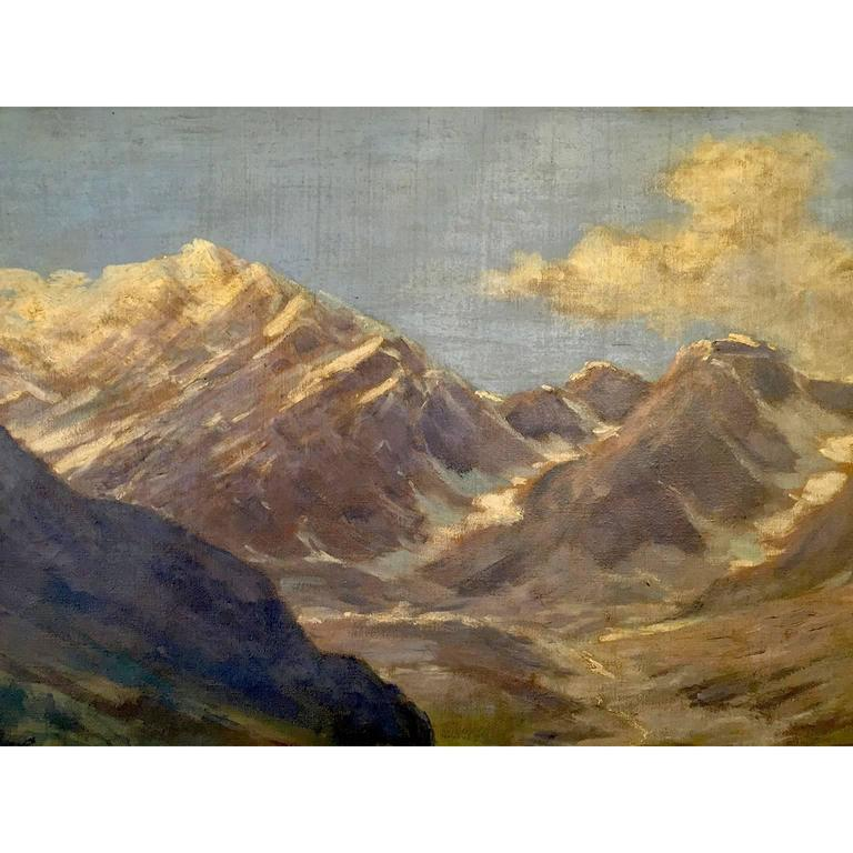 Large Italian Landscape Early 20th Century Mountain Painting by Silvio Poma  In Good Condition For Sale In Milan, IT