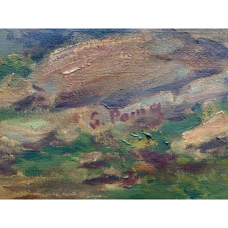 Canvas Large Italian Landscape Early 20th Century Mountain Painting by Silvio Poma  For Sale