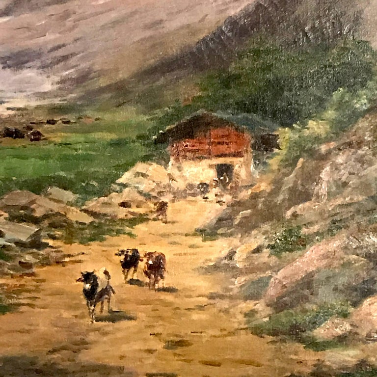 Large Italian Landscape Early 20th Century Mountain Painting by Silvio Poma  For Sale 3