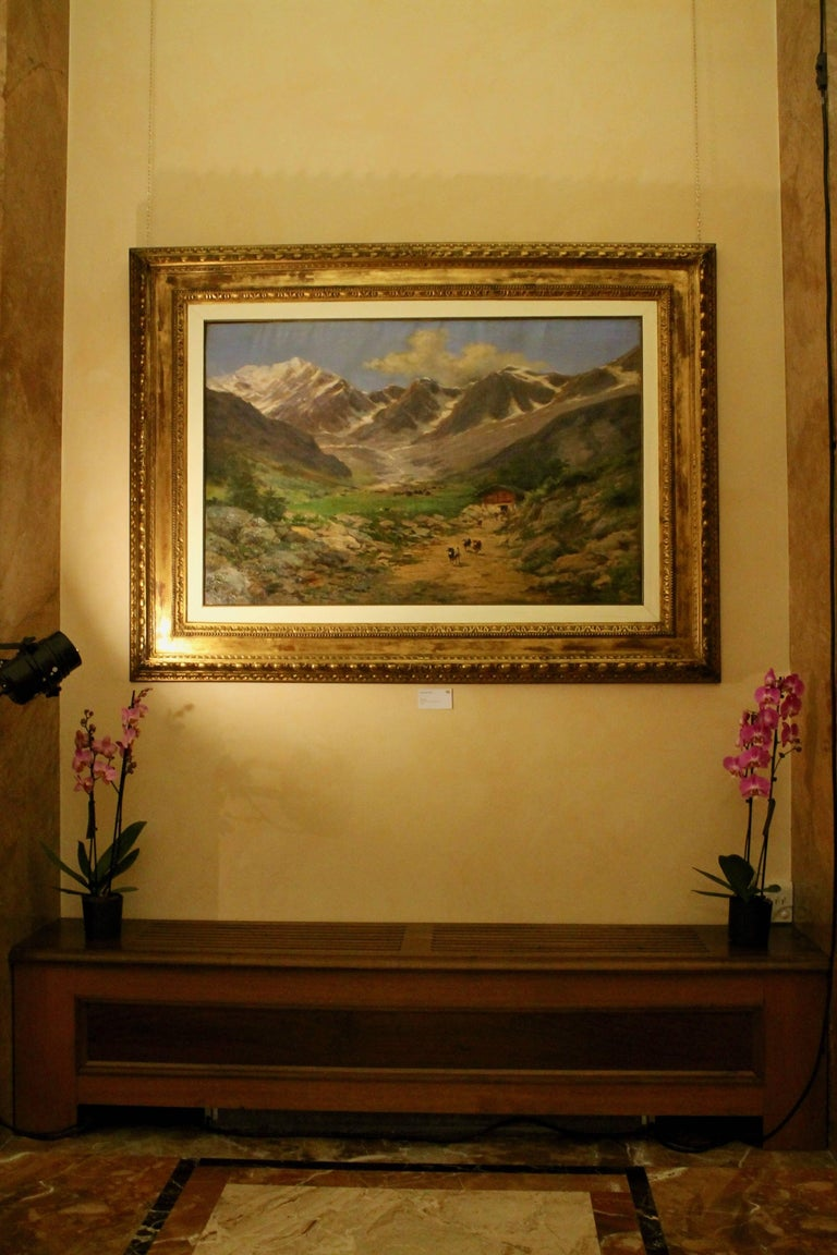 Large Italian Landscape Early 20th Century Mountain Painting by Silvio Poma  For Sale 5