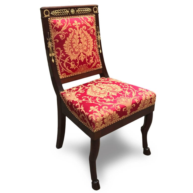 Carved Four Italian Empire Style Chairs Mahogany with Ormolu Mounts  1970 Circa For Sale