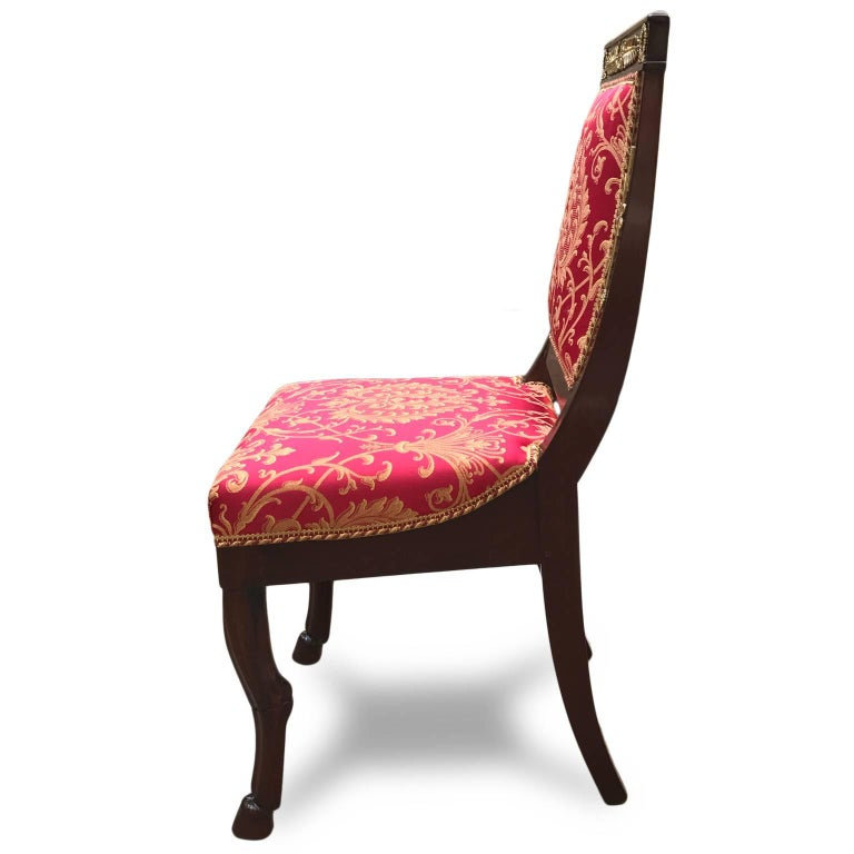 Four Italian Empire Style Chairs Mahogany with Ormolu Mounts  1970 Circa For Sale 1