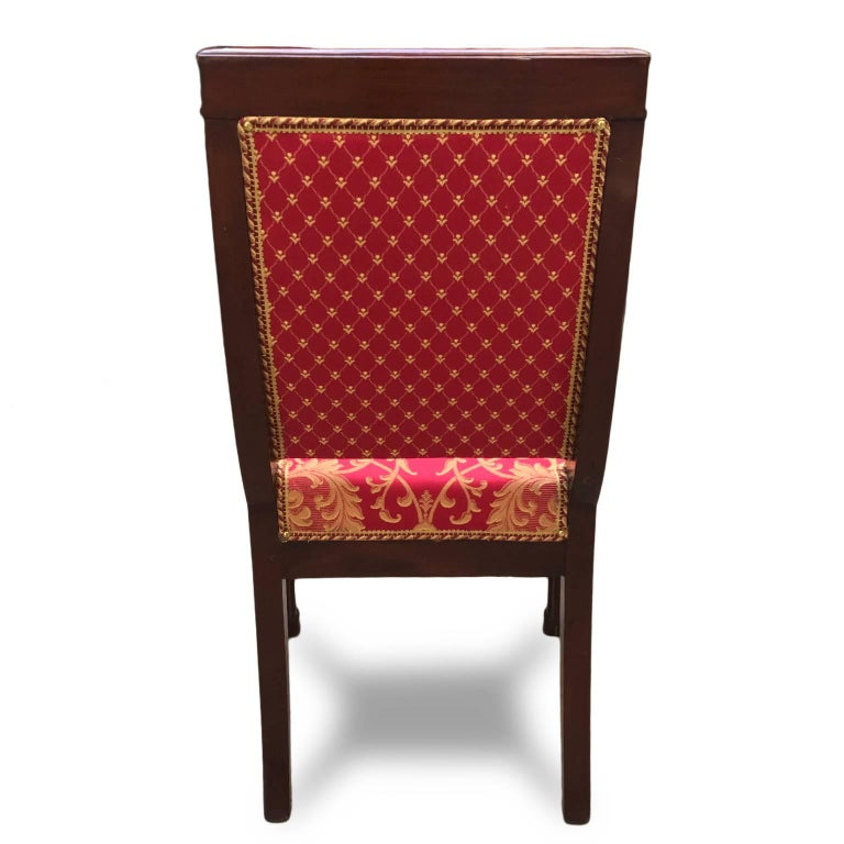 Four Italian Empire Style Chairs Mahogany with Ormolu Mounts  1970 Circa For Sale 2