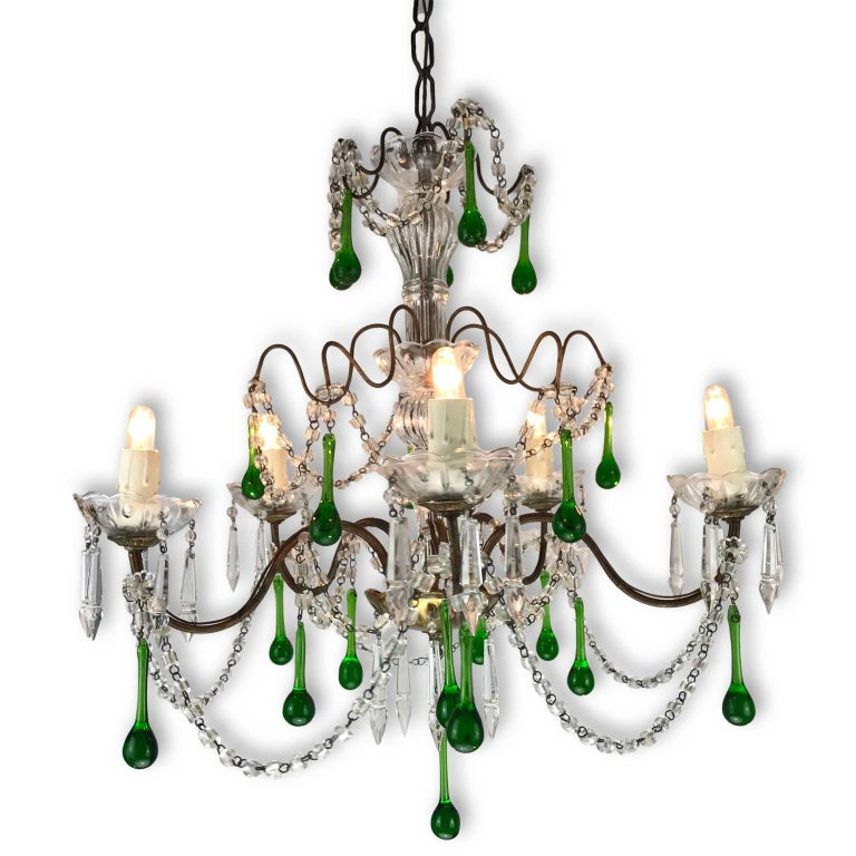 Vintage Italian Five Light Crystal Chandelier With Green Drops 1970s For 1