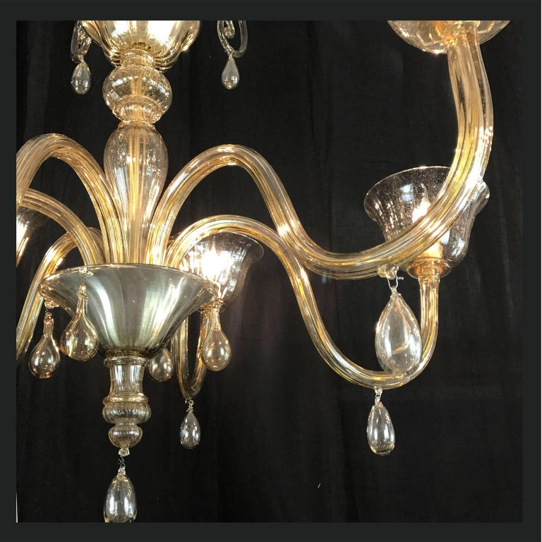 Art Deco Venini Style Venetian Murano Glass Six-Light Grey Chandelier circa 1920 In Good Condition In Milan, IT