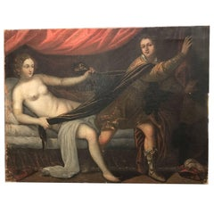 19th Century Joseph and Potiphar's Wife, Italian Lombard Oil on Canvas Painting