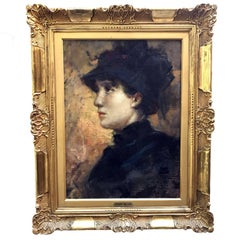 Italian Lady with Hat Profile Portrait by Cesare Tallone circa 1880
