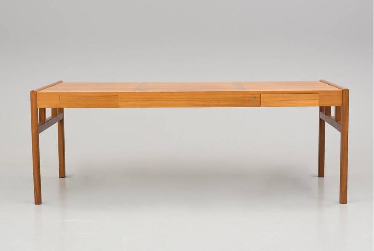 Sleek Mid Century Walnut And Teak Desk Or A Dining Table With Two Drawers