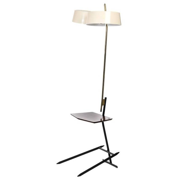 Brass and Lacquered Metal Floor Lamp with Wooden Magazine Shelf 1