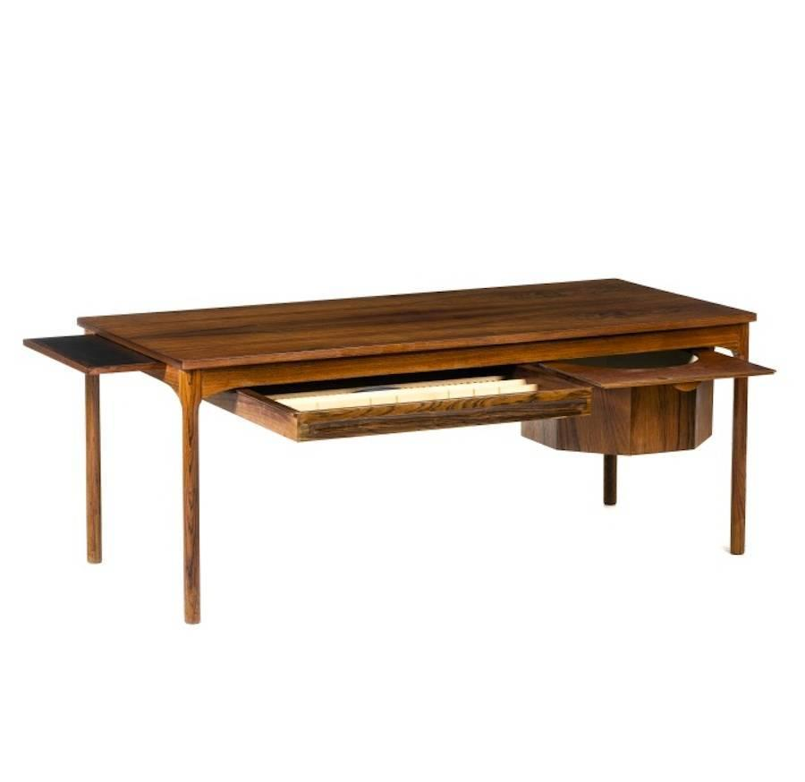 Danish mid century modern coffee table with drawers for for Table knitting