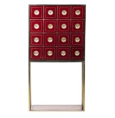 Burgundy Red Cabinet with 16 Drawers in the Style of Willy Rizzo