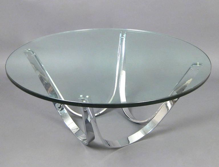 Mid-Century Modern Chrome and Glass Coffee Table Produced by Tri-Mark Designs For Sale