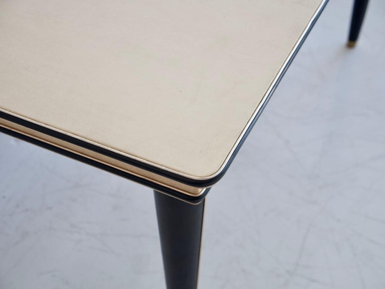 Mid-20th Century Umberto Mascagni Cream-Colored Faux Leather Covered Dining Table For Sale