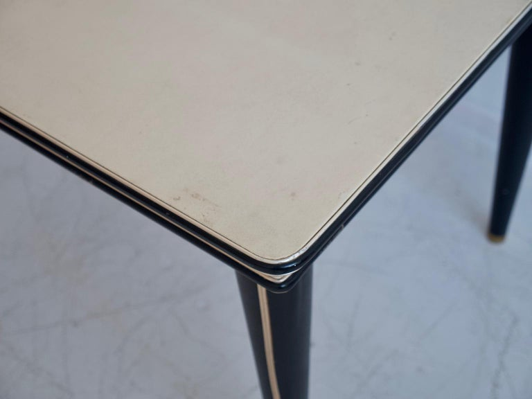 Umberto Mascagni Cream-Colored Faux Leather Covered Dining Table For Sale 1