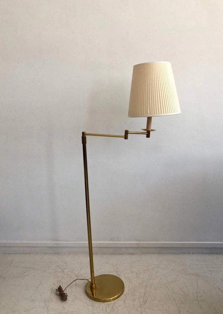 Swedish Brass Floor Lamp with Adjustable Arm and Cream Color Shade For Sale