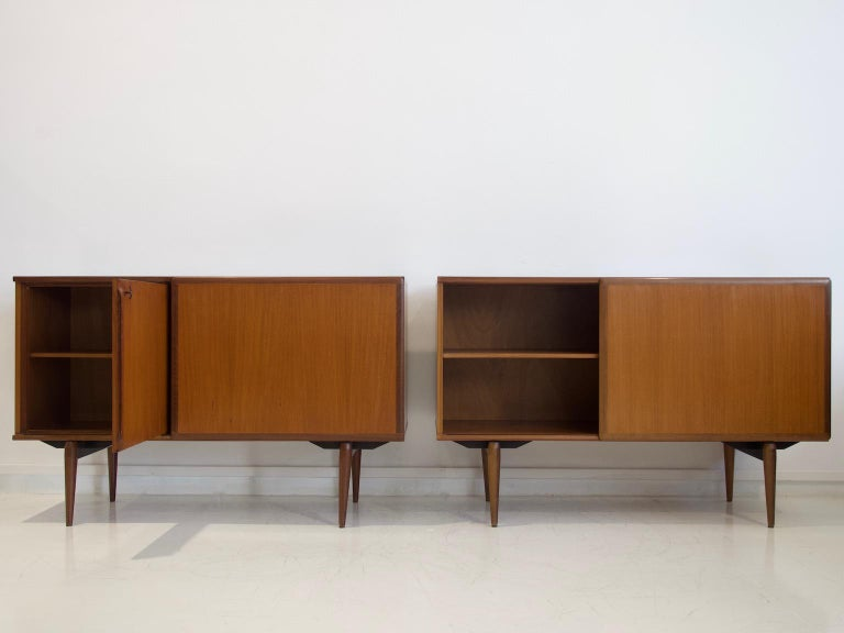 Mid-Century Modern Pair of Teak Credenzas with Sliding Doors by Amma, Italy For Sale