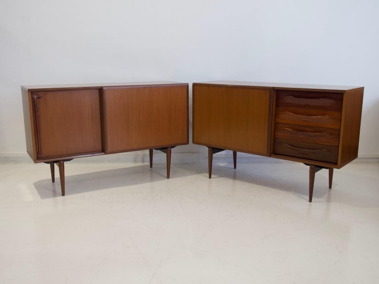 Italian Pair of Teak Credenzas with Sliding Doors by Amma, Italy For Sale