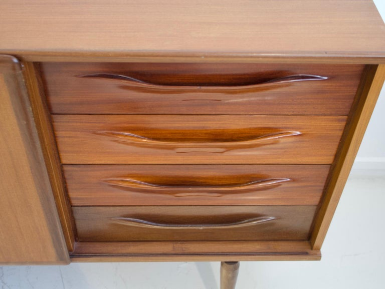 Pair of Teak Credenzas with Sliding Doors by Amma, Italy For Sale 4