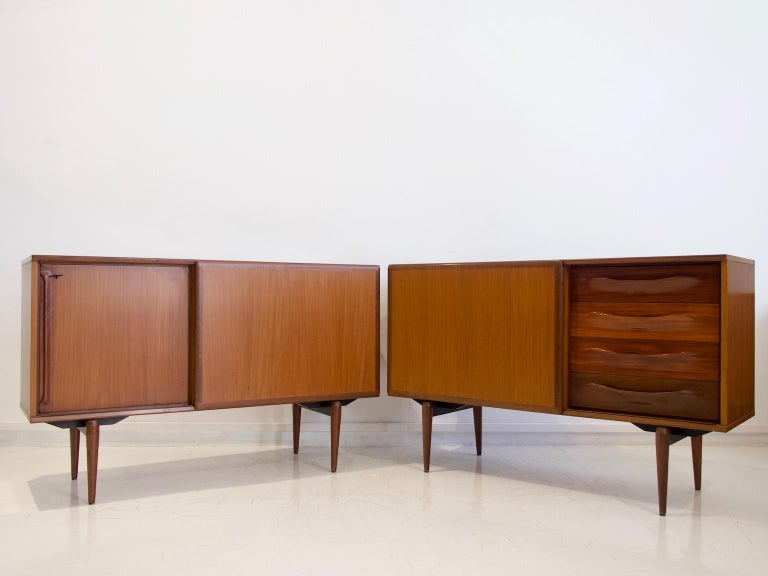 Pair of Teak Credenzas with Sliding Doors by Amma, Italy For Sale 13