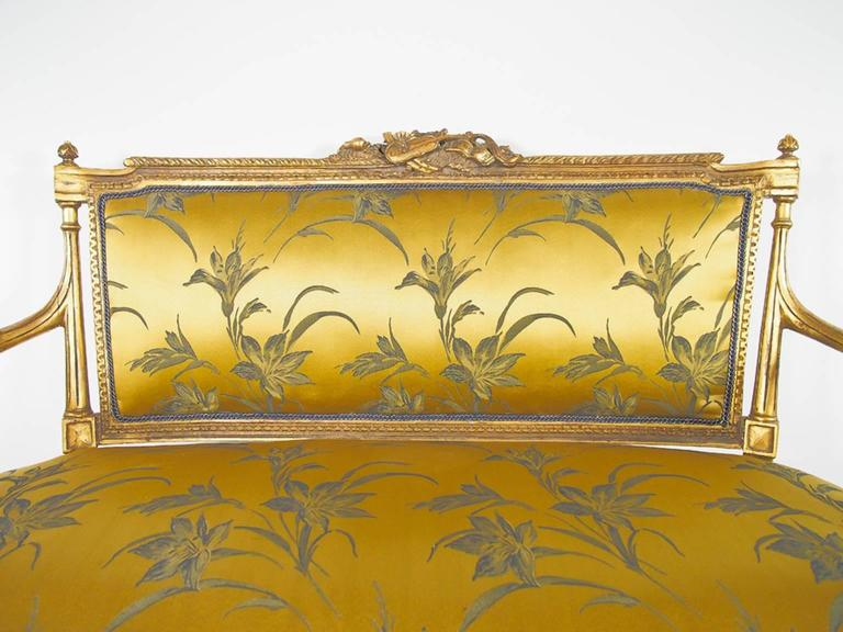 19th Century Louis XVI Style Giltwood and Silk Sofa For Sale 1
