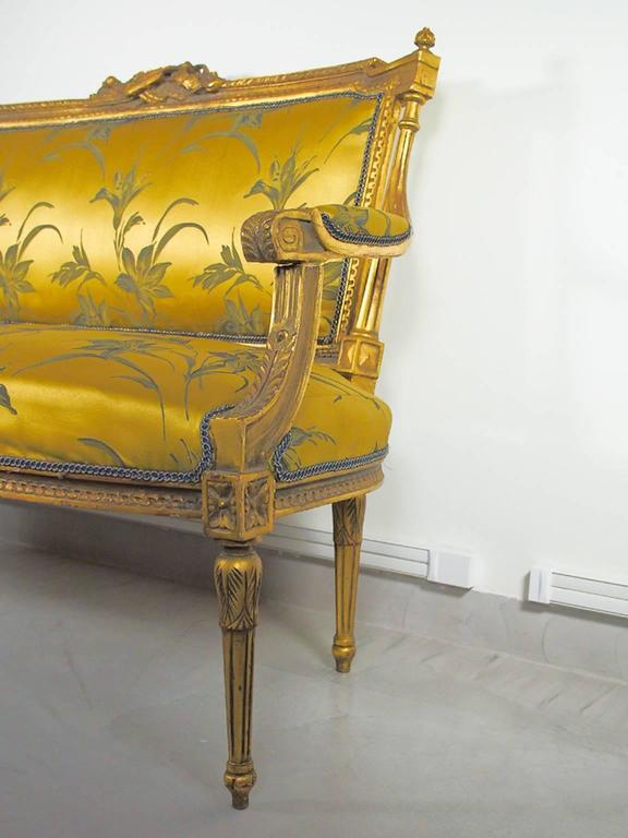 19th Century Louis XVI Style Giltwood and Silk Sofa For Sale 3