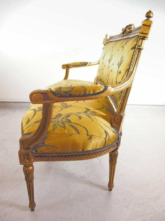 19th Century Louis XVI Style Giltwood and Silk Sofa For Sale 4