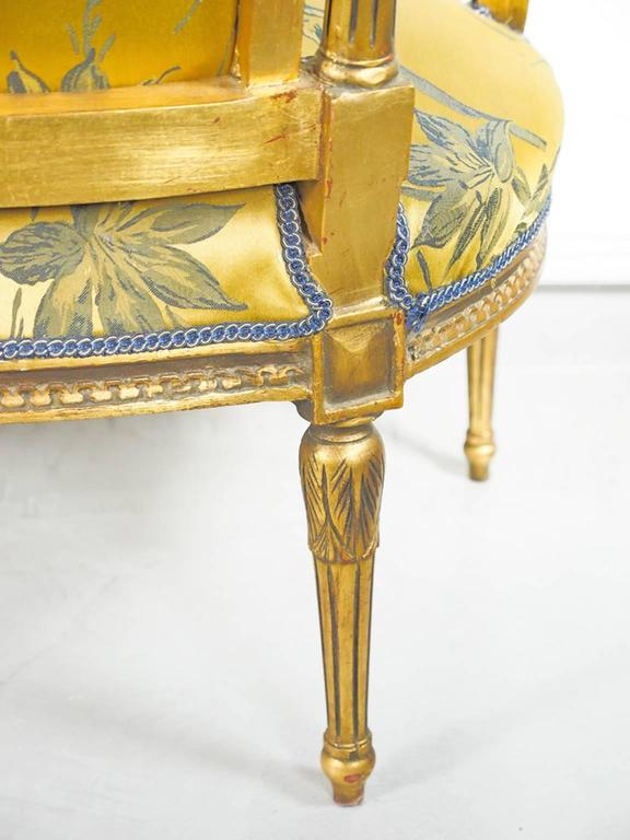 19th Century Louis XVI Style Giltwood and Silk Sofa For Sale 5