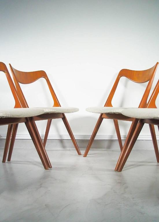 Scandinavian Modern Set of Four Mid-20th Century Albin Johansson & Sons Teak Chairs For Sale