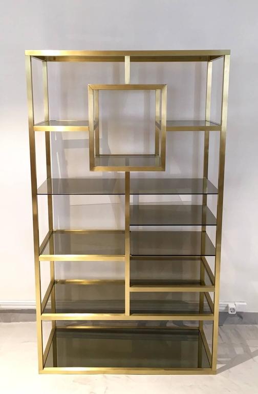 Mid-Century Modern Polished Brass Shelving Attributed to Romeo Rega ...