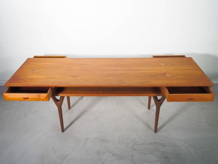 Danish Rectangular Teak Coffee Table with Drawers For Sale