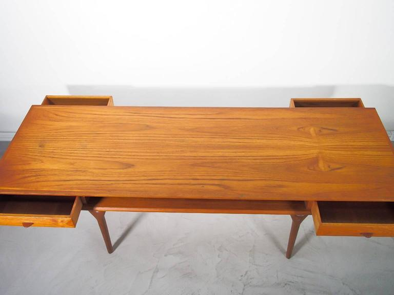 Danish Rectangular Teak Coffee Table With Drawers For Sale At 1stdibs