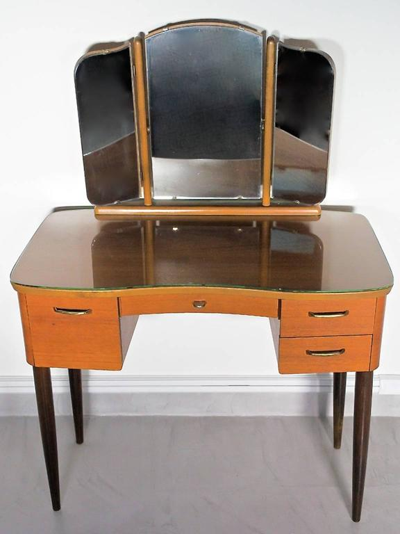 Scandinavian Modern Mid-20th Century Teak Dressing Table with Angled Mirror For Sale