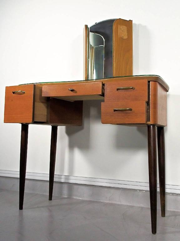 Swedish Mid-20th Century Teak Dressing Table with Angled Mirror For Sale