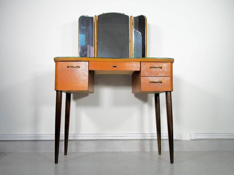 Glass Mid-20th Century Teak Dressing Table with Angled Mirror For Sale