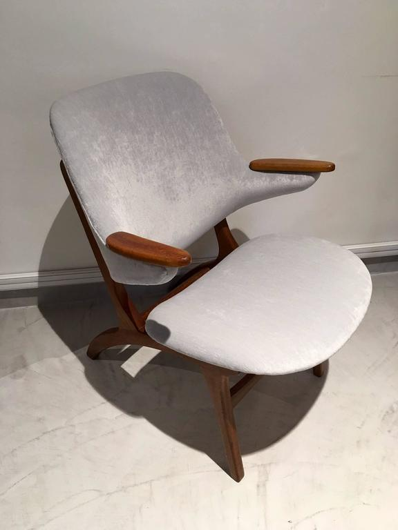 Mid 20th Century Teak Chair With New Light Blue Velvet